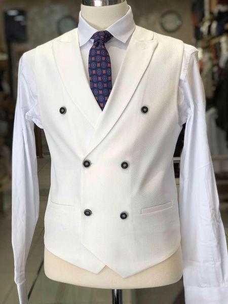Spring White Mens Designer Wedding Vest Slim Fit Groom Clothes Formal Men Custom Made Waistcoat Suits
