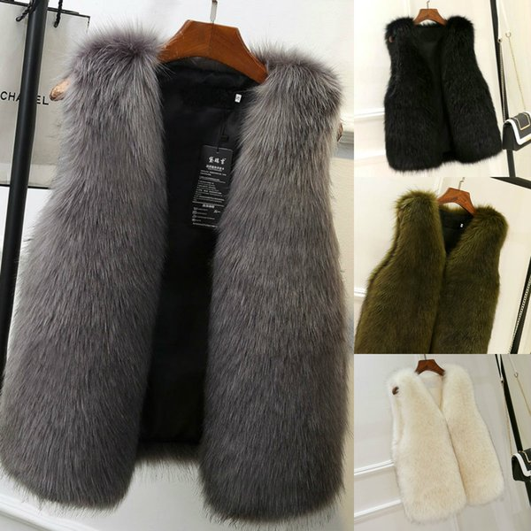 2018 Winter Women Clothes Faux Fox Fur Warm Vest In Stock High Quality Female Outerwear Coats XS-2XL