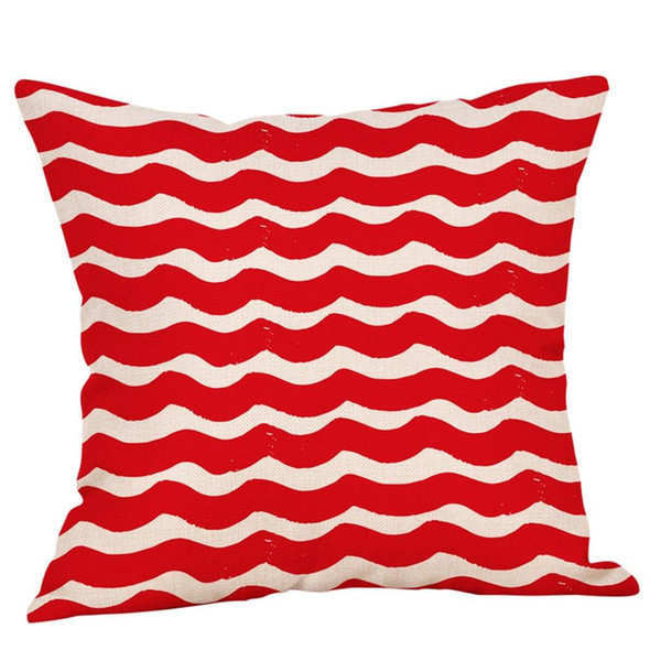 Moda multicolore 45 * 45cm cotone lino senape federa rosso cuscino cuscino geometrico