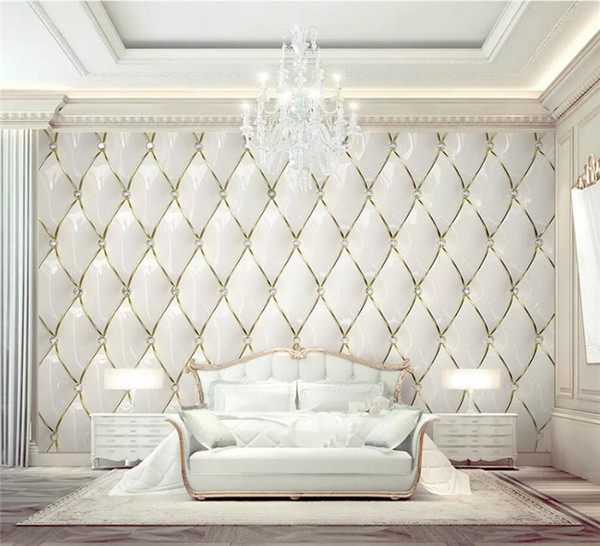 top popular Custom wallpaper 3d mural luxury gold crystal rhombic stitching 3d European soft bag background wall papers home decor 2021