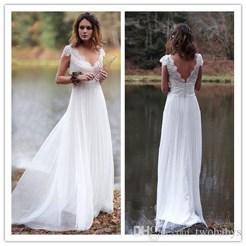 Strand-Hochzeits-Kleid 2019 V-Ausschnitt appliziert mit Spitze-Prinzessin Cheap Bride Dress Tulle A-Line Wedding Gown Freies Verschiffen