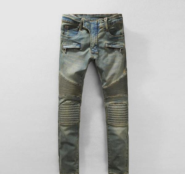Mens Strech riss Biker Jeans dünne hellblaue Westen Designermarke Hip Hop Street Swag Hosen