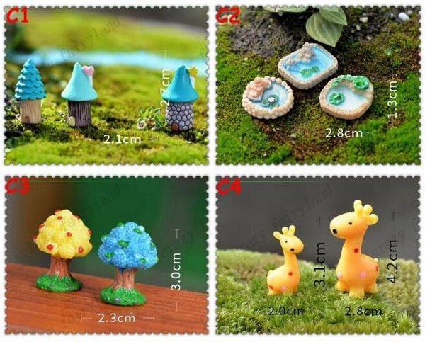 Resina Decoraciones de jardín Jardín de hadas Miniaturas Figura linda Animal Casa de árbol Artesanía Mini Árbol Decoración Paisaje Ornamento Jardín de hadas