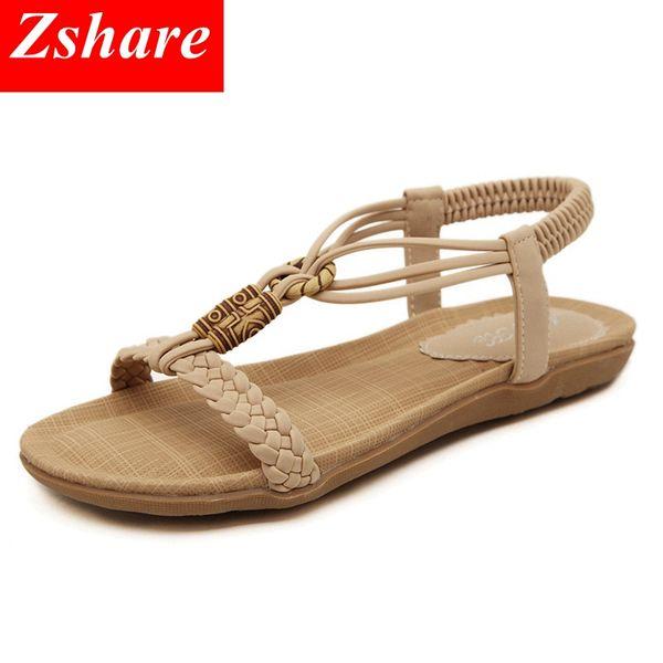 Simple Women Flat Sandals Size 35-42 2019 Summer High Quality Bohemian Women Beach Sandals Flip Flops Ladies Flat Shoes
