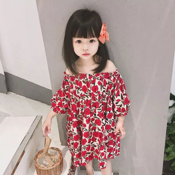 Baby Girls Red Flowers Dress 2019 Kids Dresses For Girls Beach Dress Infantil Cotton Dress Girl Off Shoulder Clothes For 90-140cm
