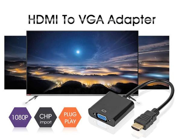 Transmetteur HDMI vers VGA 3 Options 2 Couleurs Mâle A Famale Adaptateur 1080P Convertisseur Numérique vers Audio pour PC Ordinateur Portable Projecteur Xbox PS3 4