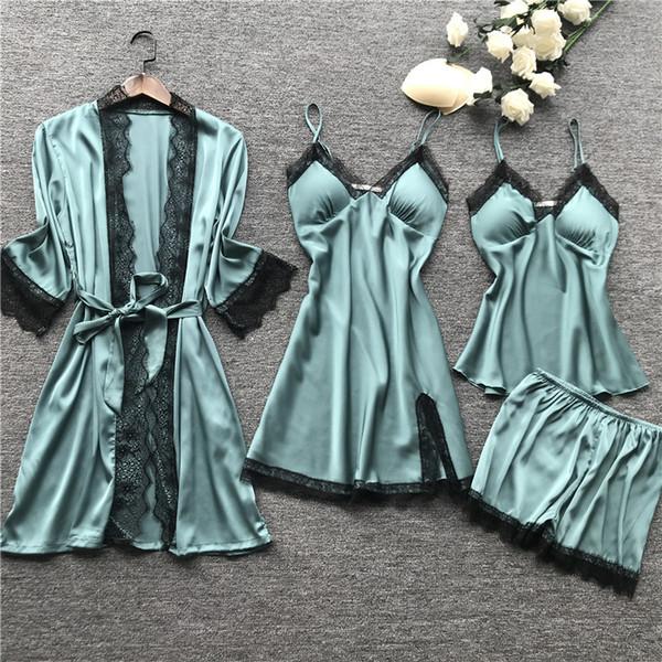Ensembles de pyjama Tops 4 pièces pour dames + pantalons courts Night Women Nighties Nightwear