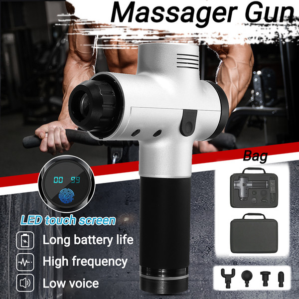 3200R / 4200R min / min 20 Gears terapia elettronico Body Massage Gun Low Noise LED Massaggi Guns Muscoli corpo rilassante Relief Pains Y191015