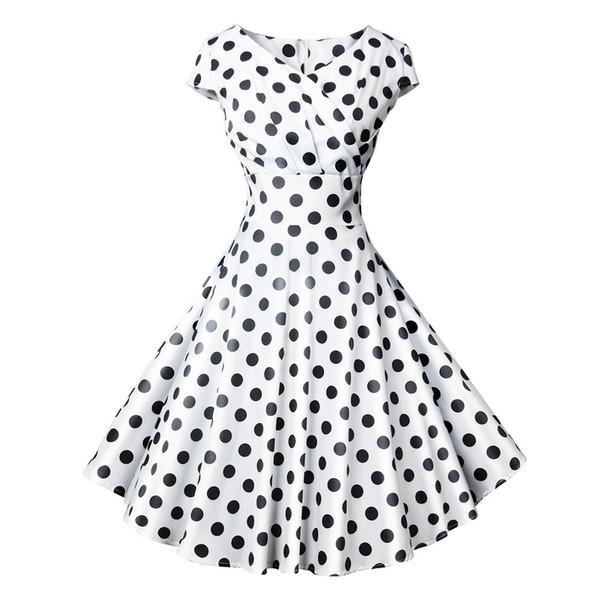 PromotionWomen's Clothes 2019 Summer Short Sleeves Circular Spot V Collar Chest Wound Printing Dress 501