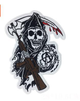Punk Skull Death Cloth Patch Iron On Embroidered Badge Appliques for Jackets Jeans Backpack DIY Stickers