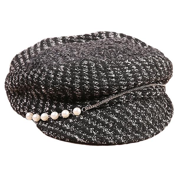 2019 nouvelles femmes chapeau d'hiver béret femme laine mélange coton casquette nouvelle femme chapeaux casquettes noir blanc Boinas De Mujer