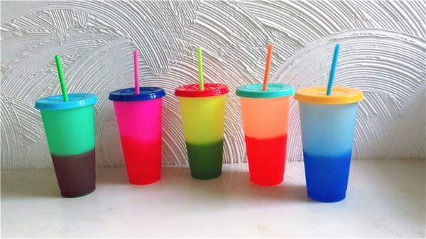 Verre à boire magique de tasse à café en verre avec couvercle et paille en plastique à changement de température de 24 oz