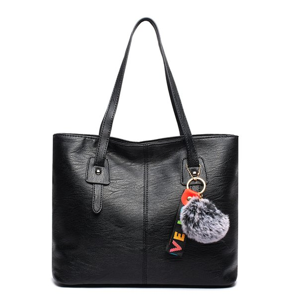 Fashion Women Big Tote Bag PU Leather Large Capacity Handbag With Hair Ball Casual Female Shoulder Bag Black Handbags For Lady