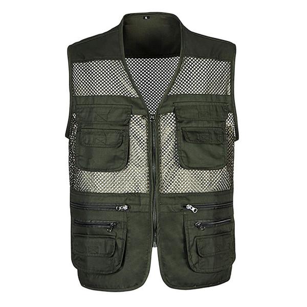 Hommes d'été classique Mesh Vest XL-3XL Nouveau Mâle Casual mince respirant sans manches Veste Mens Multi Pocket Reporter