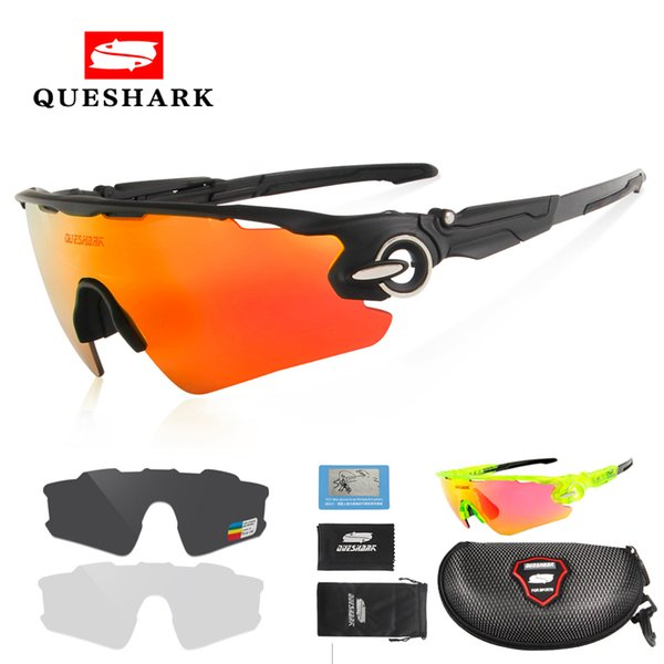 Queshark Men Women Polarized Cycling Glasses Sports MTB Bike Bicycle Sunglasses Goggles 3 Lenses Motorcycle Cycling