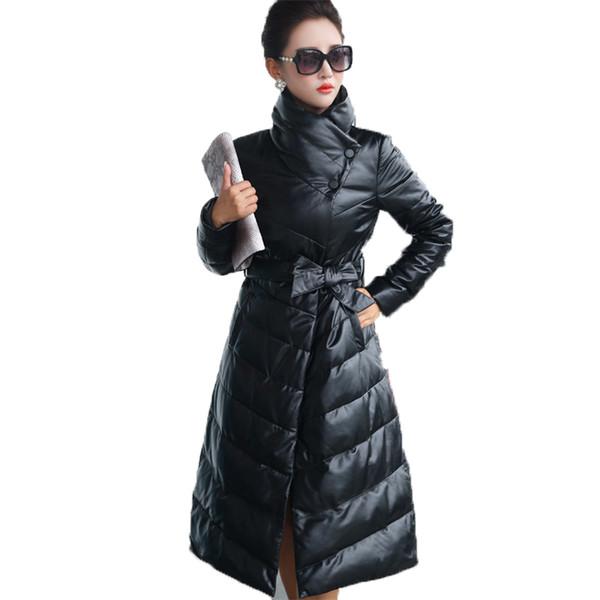 Nuevo abrigo de piel de oveja chaqueta de cuero genuino real europeo otoño invierno chaqueta mujeres ropa Vintage pato blanco abajo abrigo Z946