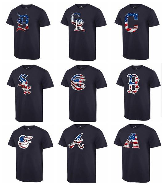 TOP Qualité 2019 Coton Hommes Diamondbacks Braves Orioles Sox Cubs Marine Bannière Vague T-shirt