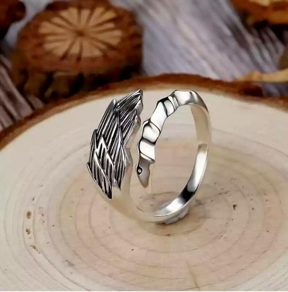 Fashion Retro Hawk Feather Lucky Stainless Steel Punk Arrow Ring Men Women Open Ring Gift