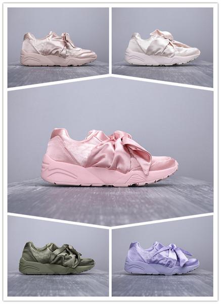 Ücretsiz Kargo Papyon Rihanna Rahat Ayakkabılar Sepet Kalp Saten Siyah beyaz Ve Pembe Kurulu Ayakkabı Ipek Bantlı Yay Tanrıça Ayakkabı 36-40