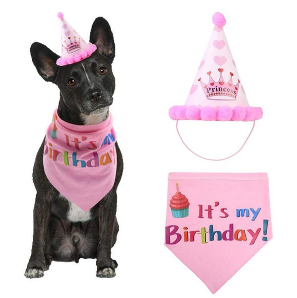 best selling Pet Dogs Caps Cat Dog Birthday Headwear Caps Pet Hat Party Headwear Costume for Chihuahua Cat Dog Birthday Hat and Scarf 1Set=2pcs