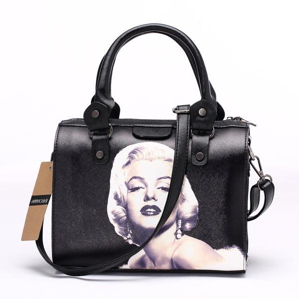 Mode Frauen Umhängetasche 3D Marilyn Monroe Bedruckte Handtaschen Kleine Umhängetasche Umhängetasche (Breite: 25 cm, Höhe: 20 cm)