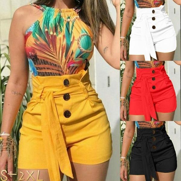 Shorts da donna Slim sexy a vita alta cintura da spiaggia Shorts Fashion tinta unita Lady Shorts Plus Size Abiti estivi da donna