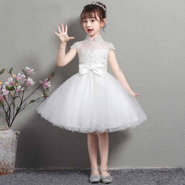2020 Vestidos de meninas das flores do vintage Marfim bebê infantil criança roupas de batismo primeira comunhão rendas Tutu vestidos de baile vestido de festa de aniversário