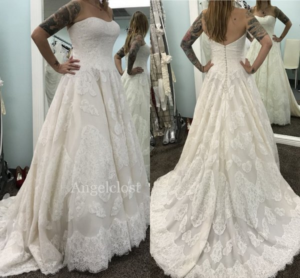 Charming Lace Beach Wedding Dresses 2019 Sweetheart Strapless Covered Button Appliques A Line Sweep Train Simple Bridal Gowns Customized