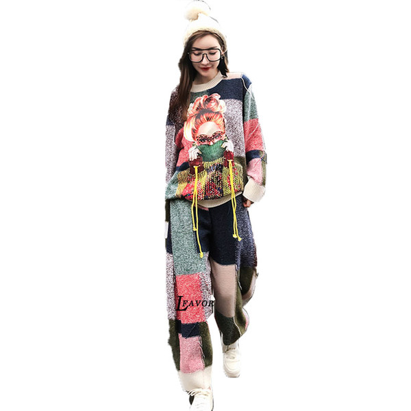 2019 Spring New Print Knit Sweater 2 Piece Set Women Plus Size Loose Sweater Women Suit Harajuku Tassel Casual Two Piece Set 01
