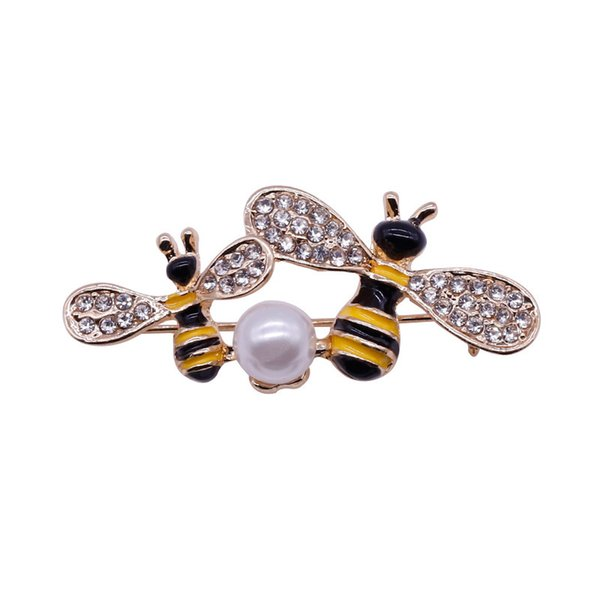 New Oil Alloy Crystal Rhinestone Honeybee Brooch Corsage Clothing Accessories