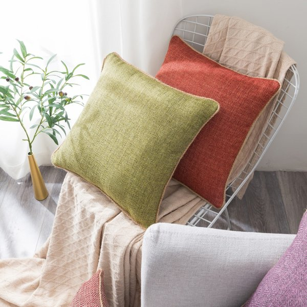 For Couch Home Cafe Library Cotton Linen Square Throw Pillow Covers Cushion Cases Decorative Pillow Case
