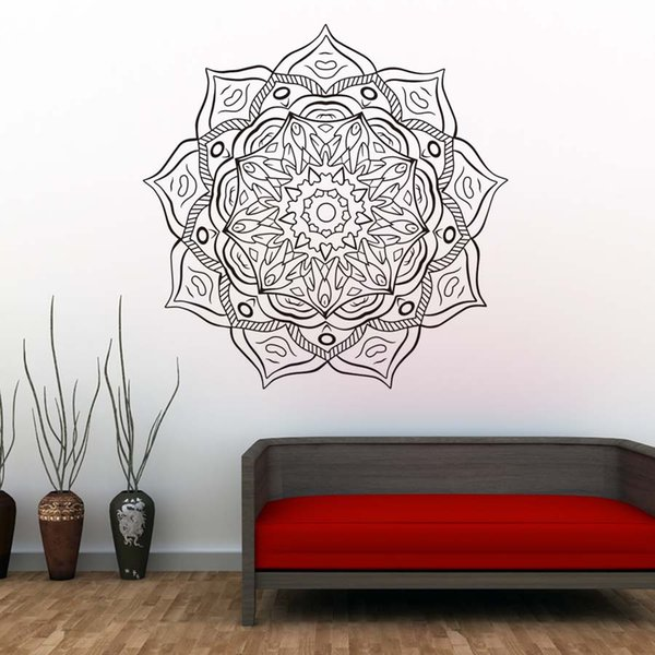 1 Pcs Mandala Flower Vinyl Art Wall Decals Indian Religious Pattern Wall Sticker Self Adhesive Wallpaper For Living Room Home Decor