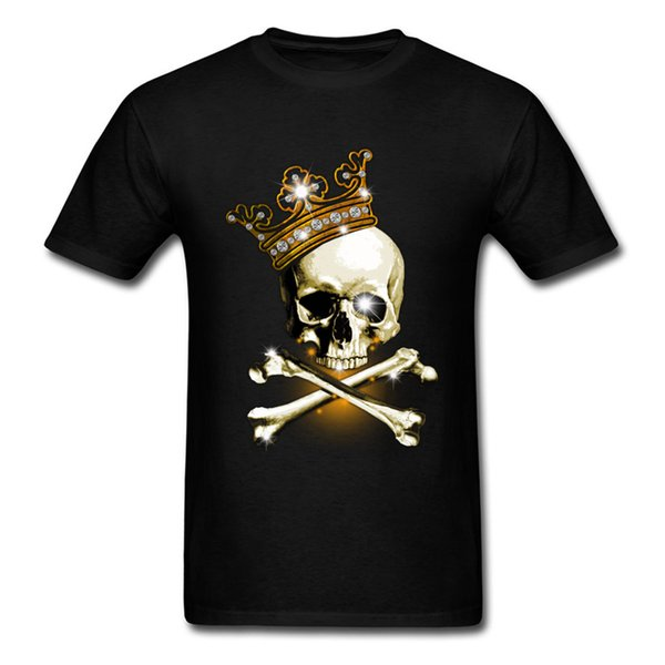 King Of Bling 2018 Funny Skull Print Men T Shirts Pirate Crossbones & Crown Print Adult Plus Size Black T-shirt For Hipster