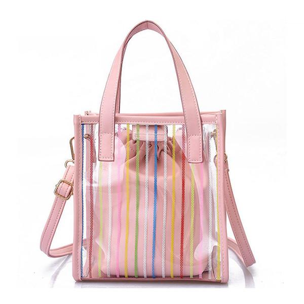 Mode Womem Sacs À Bandoulière 2019 Nouveau Pannelé Composite Rayé Sacs Transparent Gelée Sac Femmes Sacs À Main Fille Lady Shopping Bag
