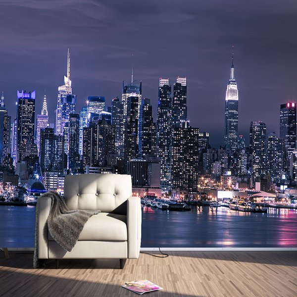 Moderne New York City Night View Photo Papier Peint Murale Salon KTV Bar Café Restaurant Toile de Fond Revêtement Papel Murales 3D