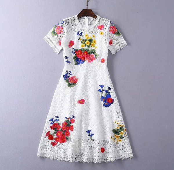 2019 spring ins hot wholesale Paris Occident style runway fashion Lace collar Short sleeves Hollow out Zipper ress