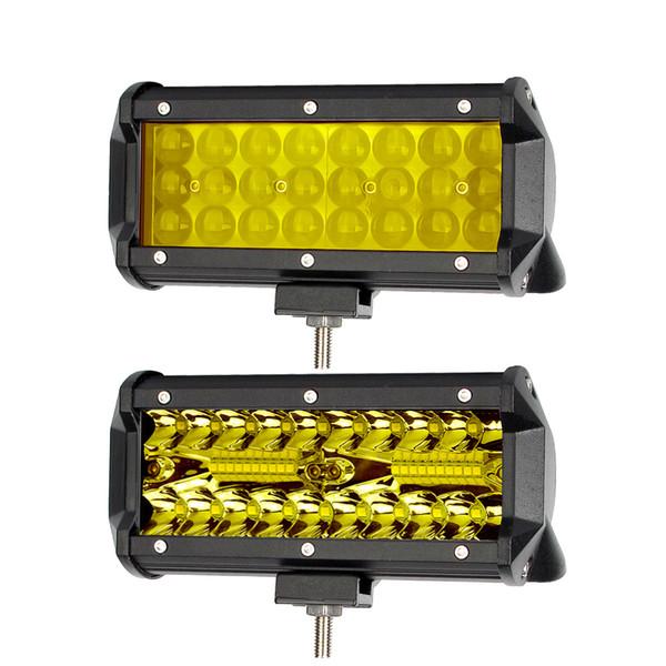 7 pollici Led Off Road Light Barra per camion ATV Moto 4x4 12V Combo Fascio giallo ambra Luci di guida di lavoro Bar Fendinebbia