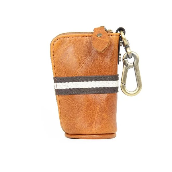 Mens Genuine Leather Key Wallets with Chains Mini Car Key Purse Clutch Bucket Wallet Key rings dhl shipping