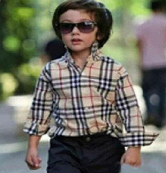 stock children tee Hot selling new style English wind plaid boys shirt tops high quality cotton Handsome lapel kids shirts free shipping