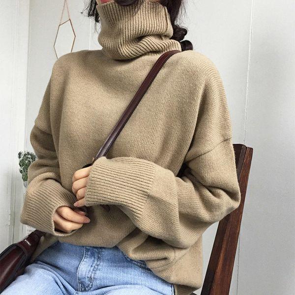 Женская Винтаж водолазка с длинным рукавом пуловеры женский повседневная свободная одежда 2018 осень мода твердые дамы свитер