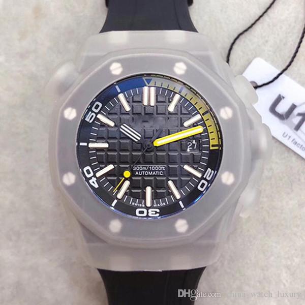 Relojes de lujo para hombre Royal Oak Offshore Diver Pvd Negro 42 mm Movimiento automático Serie 15340 Cinturón de goma Reloj para hombre con esfera negra y cristal trasero Relojes