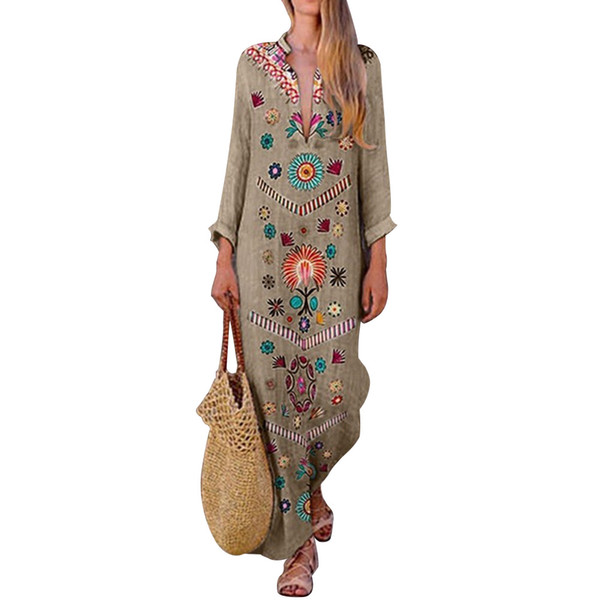 Spring V Neck Fashion Long Maxi Loose Cocktail Party Floral Polyester Women Printed Long Sleeve Casual Vintage