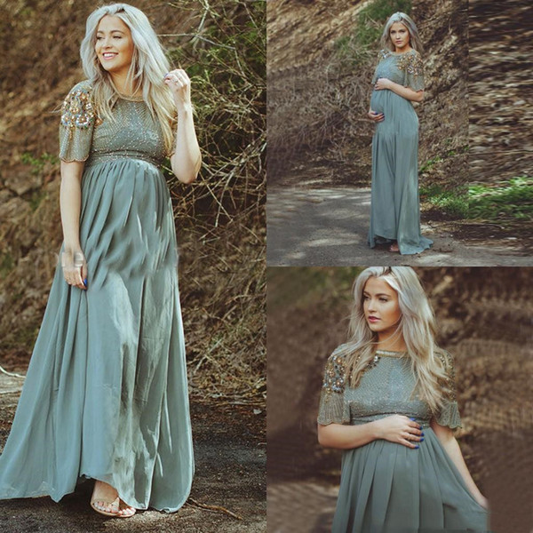 Elegant Chiffon Maternity Evening Dresses for Pregnant Women New Floor Length A Line Short Sleeves Formal Dress Gold Beaded Prom Party Gowns