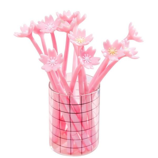 1 Pièce Lytwtw's Silicone Rose Créatif Mignon Fleurs De Cerisier Fleur Papeterie Fournitures Scolaires De Bureau Cadeau Simulation Gel Stylos
