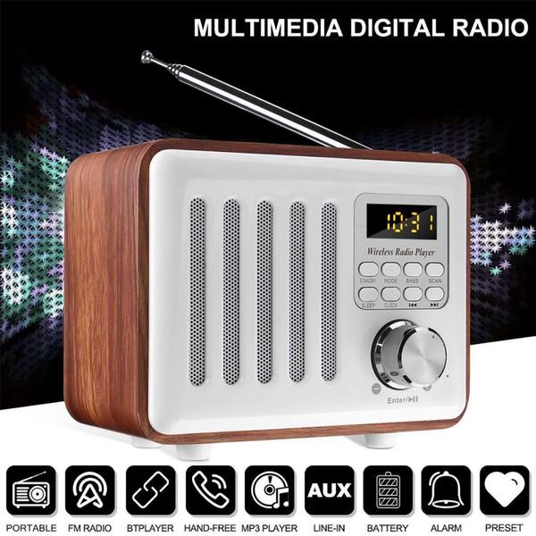 LEORY Portable Digital FM Stereo Radio Speaker Mini FM Radio Receiver External Antenna Support Mp3 FLAC APE WMA WAV Sleep Timer