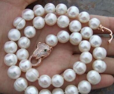 Neue große 10-12mm Südsee 18-Zoll-weiße Perlenkette