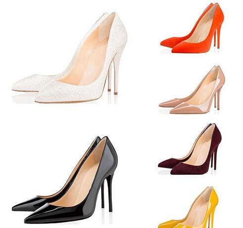 2019 Fashion designer women shoes high heels 8cm 10cm 12cm Nude black red Leather Pointed Toes Pumps bottoms Dress shoes