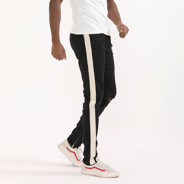 commercio all'ingrosso 2018 moda fitness jeans uomo pantaloni casual moda pantaloni fondo cerniera street wear hip hop blue jeans dritti