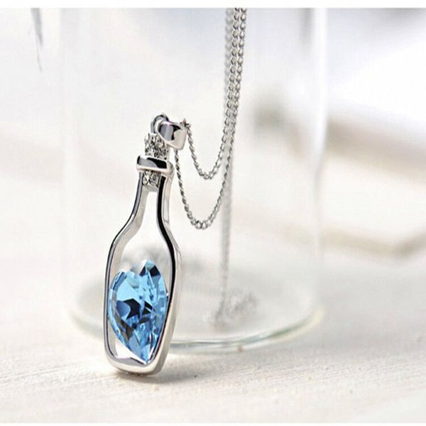 Creative Wishing Bottle Pendant Necklace Rhinestone Heart Collarbone Necklace Women Jewelry for Party Wedding
