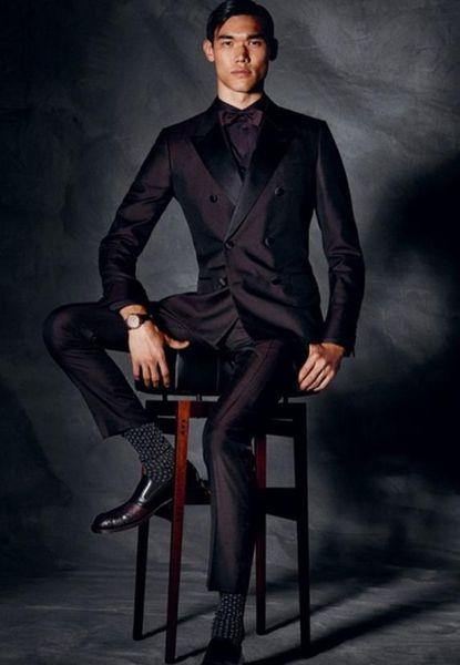 New Fashion Custom Made Dark Brown Men Wedding Suit Groom Prom Masculino Trajes De Hombre Blazer2Pieces(Jacket+Pant+Tie)